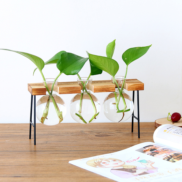 Florero botella de vidrio planta hidropónica transparente florero de marco de madera de la tienda de café decoración de la habitación de escritorio de la tabla de la decoración terrario florero