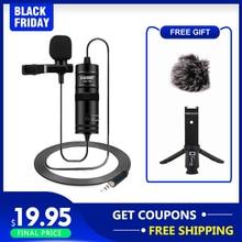 BOYA BY M1 3.5mm ses yaka mikrofonu Video kayıt röportaj 6M mikrofon iPhone Android için MIC Vlog DSLR kamera microfono