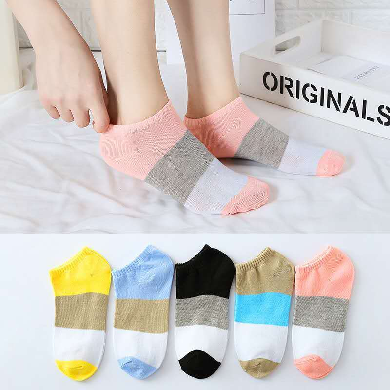 5 Pairs/lot Candy Women Ankle Spring Socks Europe Funny Cute Splice 3 Colors Boat Socks Womens Lady Girl Art Sock Short Summer