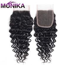 Monika Hair Brazilian Closure Deep Wave Human Hair Closure Swiss Lace 4x4 Closure Hair Non Remy Free/Middle/Three Part Closures
