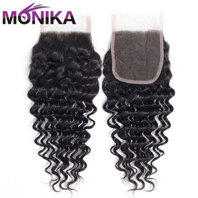 Monika saç brezilyalı kapatma derin dalga İnsan saç kapatma İsviçre dantel 4x4 kapatma saç olmayan Remy ücretsiz/Orta/üç bölüm kapanışları