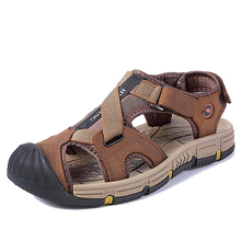 Men Sandals 2020 Genuine Leather Men Summer Shoes Waterproof Men Beach Sandals Fashion Hook&loop Outdoor Casual Sneakers uexia 2018 new men sandals leather summer hook