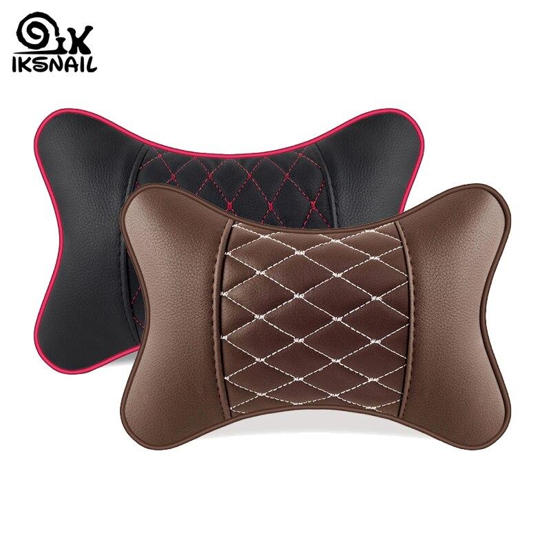 Ikescargot PU cuir voiture oreillers appui-tête cou reste coussin Support siège accessoires Auto sécurité doux oreillers universel voiture décor