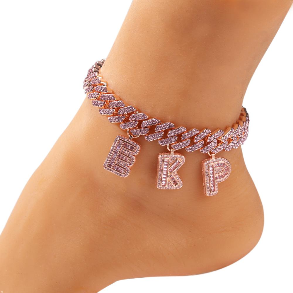 Miami Cuban Necklace Letter Pendant Ankle-Jewelry Hiphop S-Link Baguette Statement Bling King