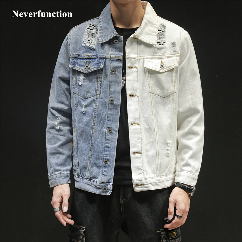 2019 Men Hip Hop Blue White Patchwork Slim Jeans Jackets Streetwear Male Solid Color Cotton Casual Denim Jacket Plus Size 5XL