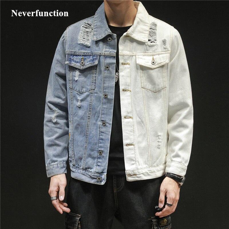 2019 Men Hip Hop Blue white Patchwork Slim jeans Jackets Streetwear male Solid color Cotton Casual Denim Jacket Plus Size 5XL