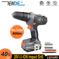 NEWONE Electric Power Tool 20V Li ion Cordless Impact Drill/Screwdrive Rechargeable Drill Max. 40Nm torque with Big Battery