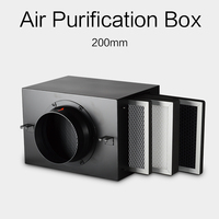 HVAC ventilation air purification box 200mm with Activated carbon metal air purifier high efficient HEPA filter to remove PM2.5
