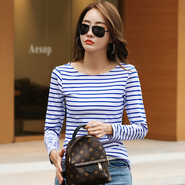 Autumn Winter Stripe O-neck Long Sleeve T-shirt Cotton T-shirt Women Women's Bottoming Top Fashion Tees Tops Plus Size 7667 50