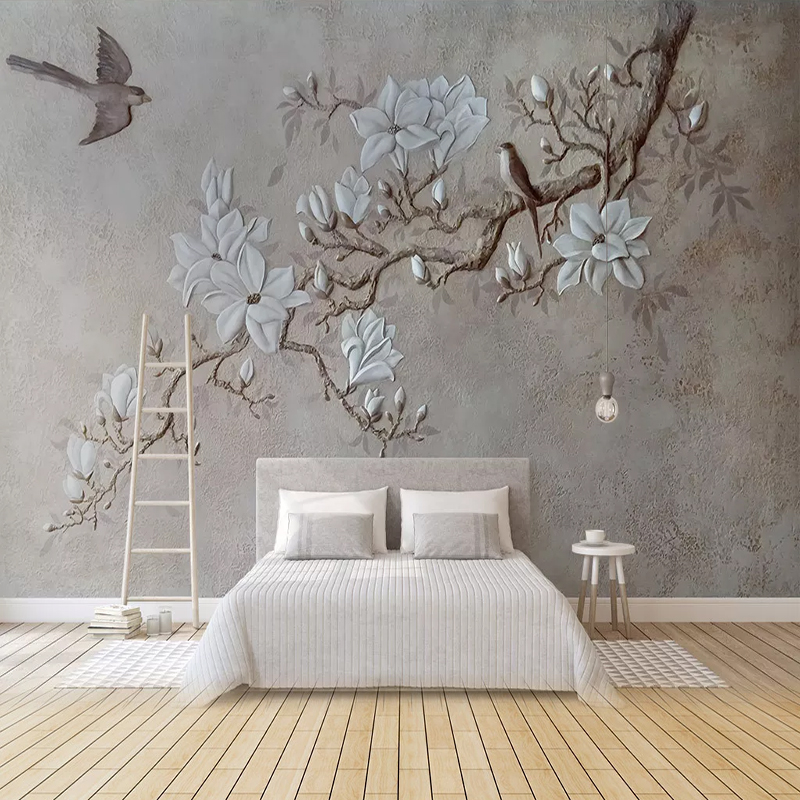 Custom Any Size Wallpapers 3DEmbossed Tree Branch Wall Cloth Office Living Room TV Decoration Mural 3D Wall Sticker Wallpaper
