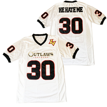BG American football jersey OUTLAWS LASVEGAS 30 he hate me jerseys Embroidery sewing Outdoor sportswear Hip hop loose WHITE 2020
