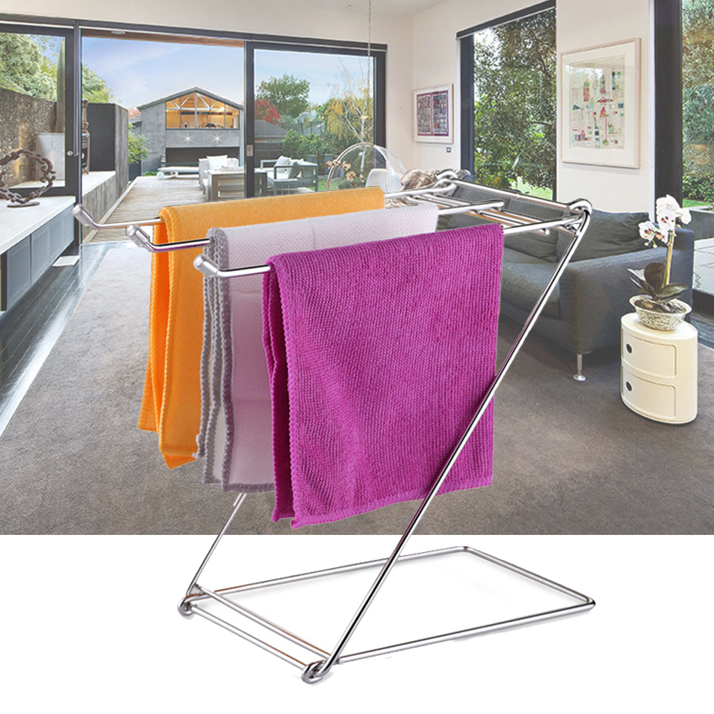 Rags Towel Rack Rustproof Holder Bathroom Daily Life Stable Space Saving Table Home Foldable Free Standing Stainless Steel