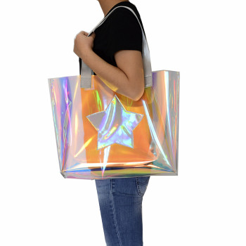 Beach transparent bag woman waterproof laser clear tote bags summer big top-handle bags laser holographic purse jelly handbag 2