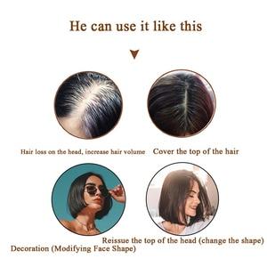 Image 5 - BUQI extensions capillaires naturels lisses pour femmes, bloc Invisible à remplacer, à couleur noire et brune, pour moins de cheveux