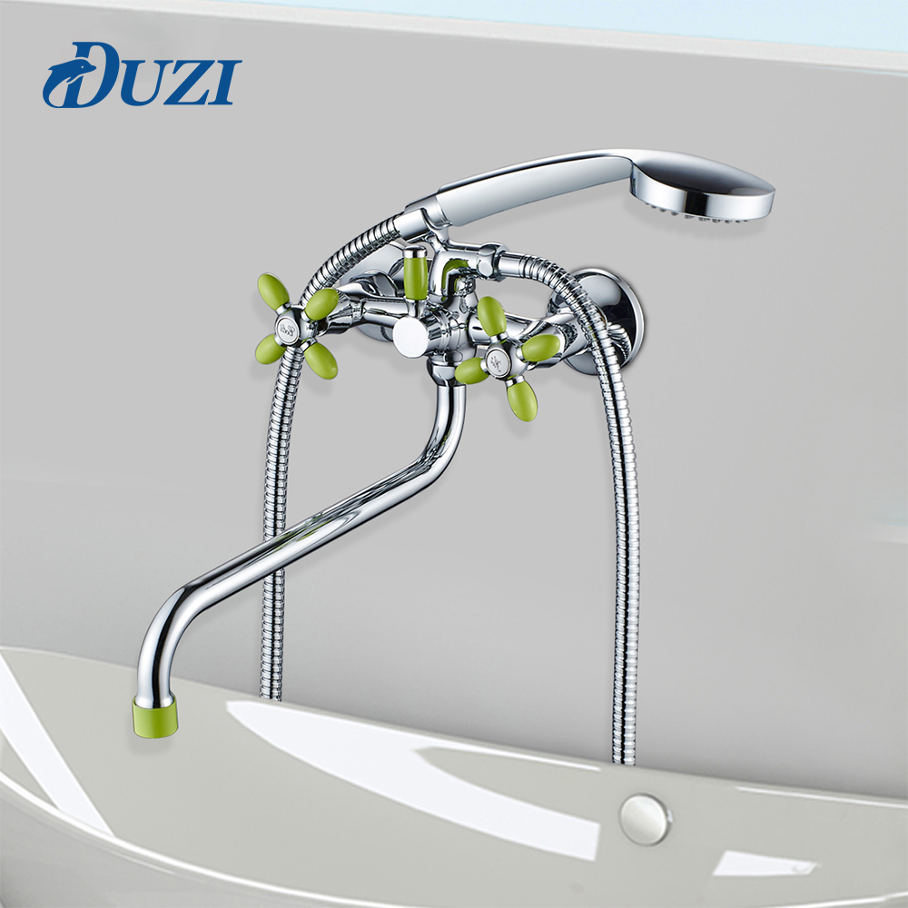 Bathroom Modern Bathtub Shower Faucets 30CM Length Outlet Rotated Hot And Cold Water Brass Wall Mounted Body Shower Set Tap