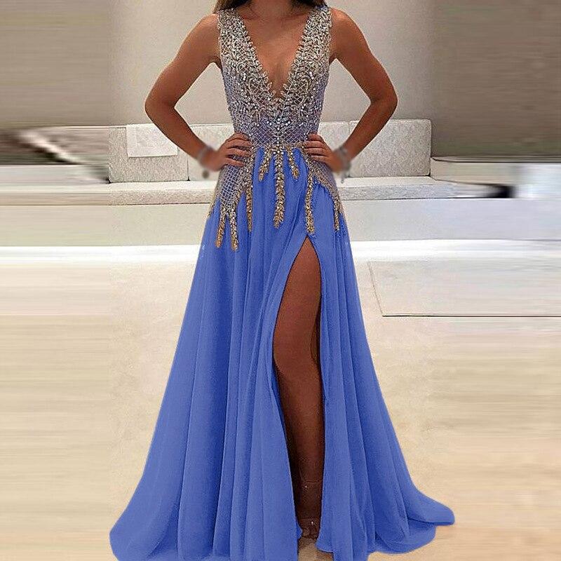 Women-Dress-Bridesmaid-Ball-Long-Sundress-Fashion-Prom-Maxi-Wedding-V-Neck-Formal-Sleeveless-Casual-Split (3)