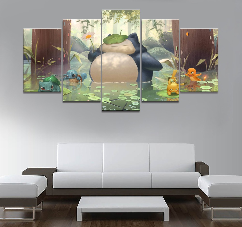 5 Piece Canvas Art Anime Poster HD Pictures Prints Modular Classic Cartoon Pokemon Game Living Room Decorative Painting Frame 1