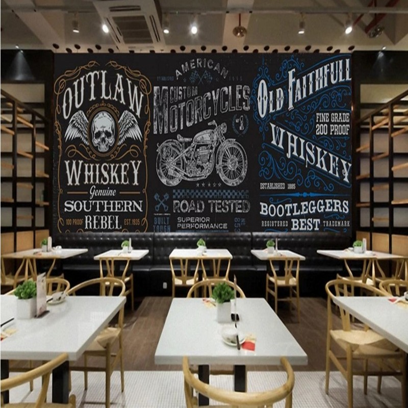 Hand Drawn Blackboard Wallpaper Motorcycle Cartoon Murals Restaurant Hotel Bar Personality Backdrop Wall Wallpaper for Walls 3 D in Wallpapers from Home Improvement