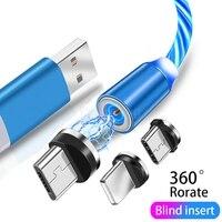Magnetische Ladekabel Micro USB Typ C Draht Für Handy Samsung Xiaomi Poco Huawei Fließende Licht 3 In 1 schnelle Ladegerät Draht