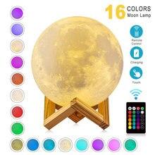 Lámpara de luna con impresión 3D para niños, luz de noche recargable vía USB, decoración creativa para el hogar, globo, dormitorio, regalo