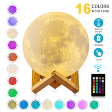 Dropshipping 3D Print Galaxy Moon Lamp Night Light USB Rechargeable Creative Home Decor Globe Bedroom Lover Children Gift