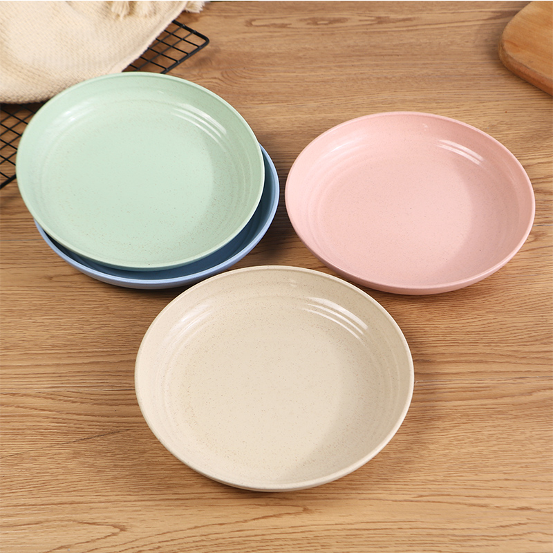 4Pcs 15/17.5/20/22.5/25cm Eco-Friendly Wheat Straw Dinner Plates BPA Free Microwavable Safe Biodegradable Saucer