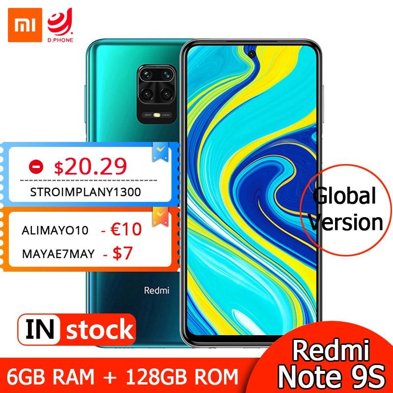 "Global Version Xiaomi Redmi Note 9S 6GB 128GB Smartphone Snapdragon 720G Octa Core 48MP Quad Cameras 6.67"" FHD Screen 5020mAh"