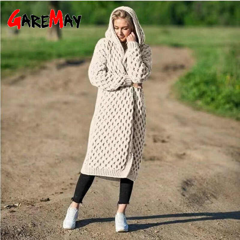 Winter Sweater Women 2019 Warm Knitted Long Sweater Hooded Cardigan Jacket Plus Size Sweater Jacket Wool Thick Long Cardigan
