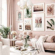 Rosa Stil Blume Poster Grüne Blätter Leinwand Kunstdruck Marokko Tür Moderne Wand Kunst Bilder für Wohnzimmer Decor