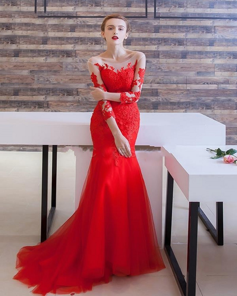 Fashion Elegant Red Evening Dresses 2016 Boat Neck Half Sleeves Appliques Lace Mermaid Women Pageant Gown For Formal Prom Party