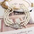 Трехслойное блестящее жемчужное ожерелье стразы, каменное ожерелье, цепочка до ключиц, ретро ожерелье, свадебные аксессуары для невесты, по...