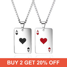 Buy 2 get 20% OFF Couples Stainless Seel Black/Red Spades Lucky Poker Charm Pendant Necklace Chain For Women Men Punk Jewelry