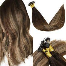 VeSunny Pre Bonded Keratin Nano Tip Remy Hair Extensions Nano Ring Hair Extensions Brown Straight Nano Loop Remy Hair