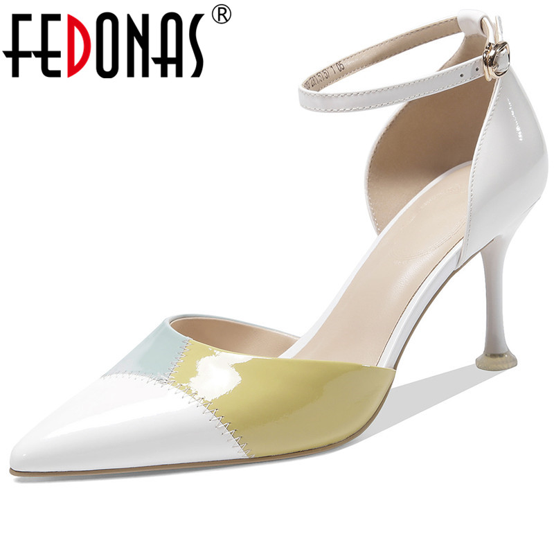 FEDONAS Cow Leather 2020 New Arrival Women Pumps Fresh And Elegant High Heeled Working Shoes Eleagnt Spring Summer Shoes Woman