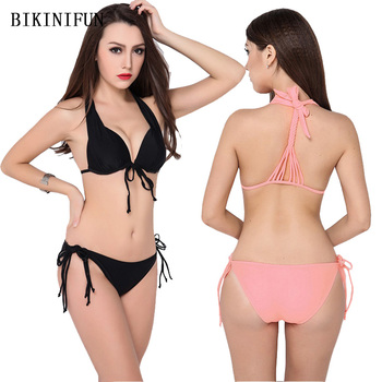 New Sexy Solid Color Bikini Women Swimsuit Strappy Bandage Bathing Suit M-XL Girl Backless Padded Mini Swimwear Micro Set