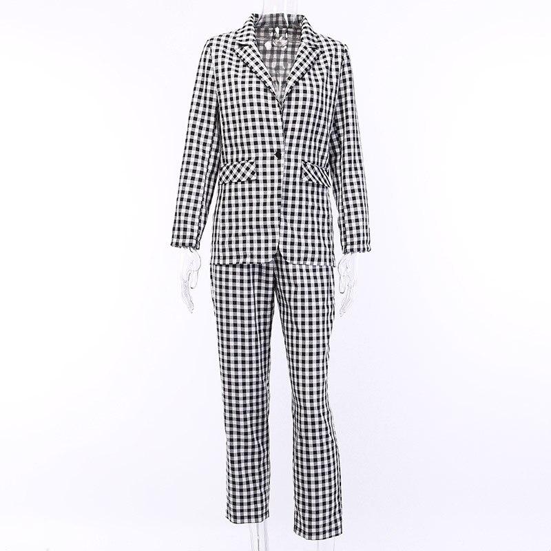 Preto branco xadrez feminino blazer terno conjunto de manga longa escritório senhoras elegante calça ternos feminino casual streetwear calças terno - 3