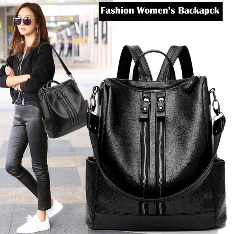 New Fashion Women's Small Fashion Backpack Leather Travel Handbag Shoulder Bag Black Satchel