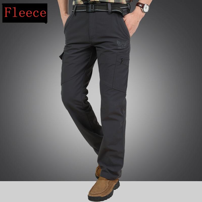 Warm Fleece Winter Pants Thicken Men Zipper Waterproof Work Casual Pants Men Military Tactical Cargo Pants Male Trousers 4XL 5
