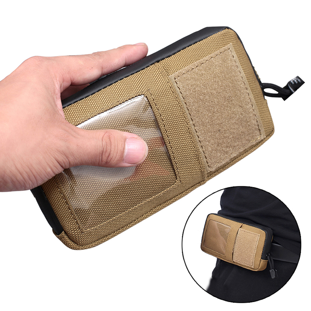 1000D Tactical Wallet Card Pouch Waterproof Molle Bag Card Key Holder Military Waist Bag With Carabiner for Camping Hunting