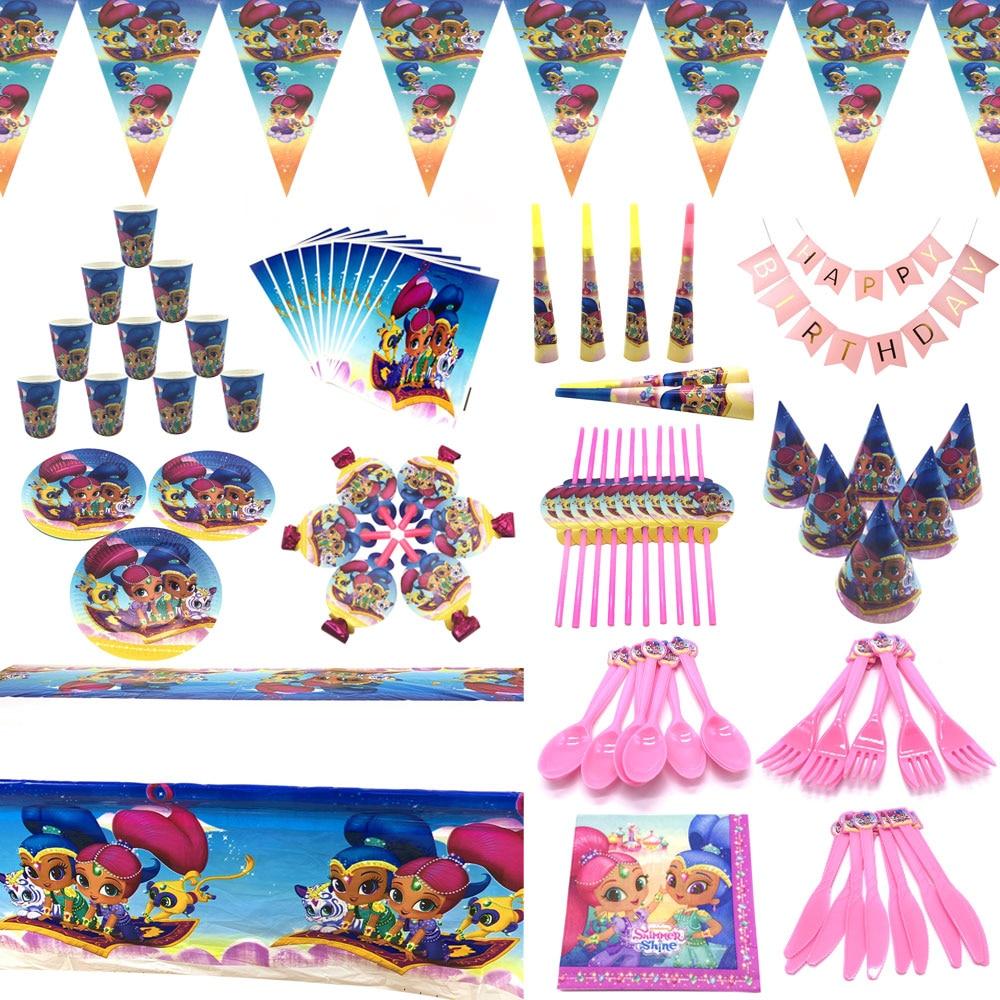 Товары для девочек на день рождения, одноразовые тарелки и соломки, набор украшений для вечеринок