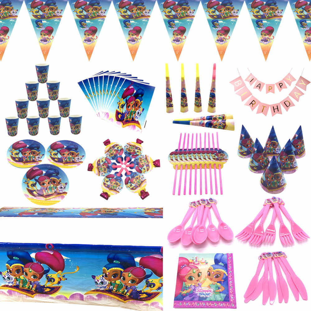 Shimmer And Shine Birthday Party Supplies For Girl Disposable Cup Plates Straws Blowouts Shimmer And Shine Party Decorations Set Disposable Party Tableware Aliexpress