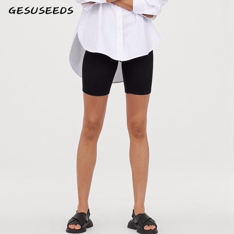 White Biker Shorts Women Black High Waisted Shorts Casual Elastic Shorts Vintage Khaki Pink Short Mujer Summer