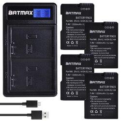 Batmax EN-EL14 EN-EL14a bateria + carregador duplo usb, para nikon, d5600, d5500, d5300, d5200, d5100, d3200, d3300, p7800, p7700, p7100, p7000