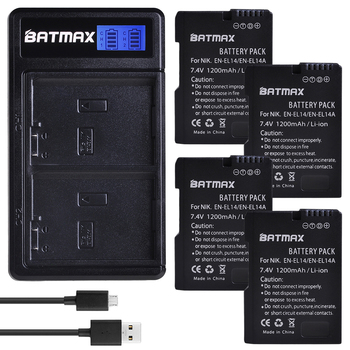 Batmax EN-EL14 EN-EL14a Battery+LCD USB Dual Charger for Nikon,D5600,D5500,D5300,D5200,D5100,D3200,D3300,P7800,P7700,P7100,P7000 en el14 ep 5a dummy battery adapter plug dc power bank for nikon d5600 d5500 d5300 d5200 d5100 d3500 d3400 d3300 d3200 d3100