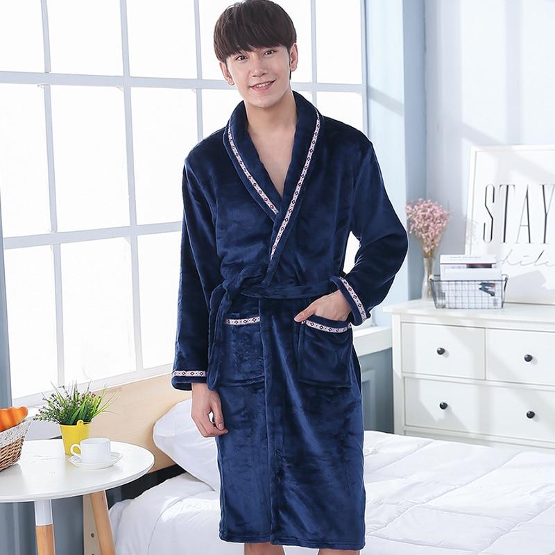 Men Winter Coral Fleece Kimono Gown Home Bath Robe Thick Warm Lounge Nightwear Cute Couple Lovers Sleepwear Men Nightgown