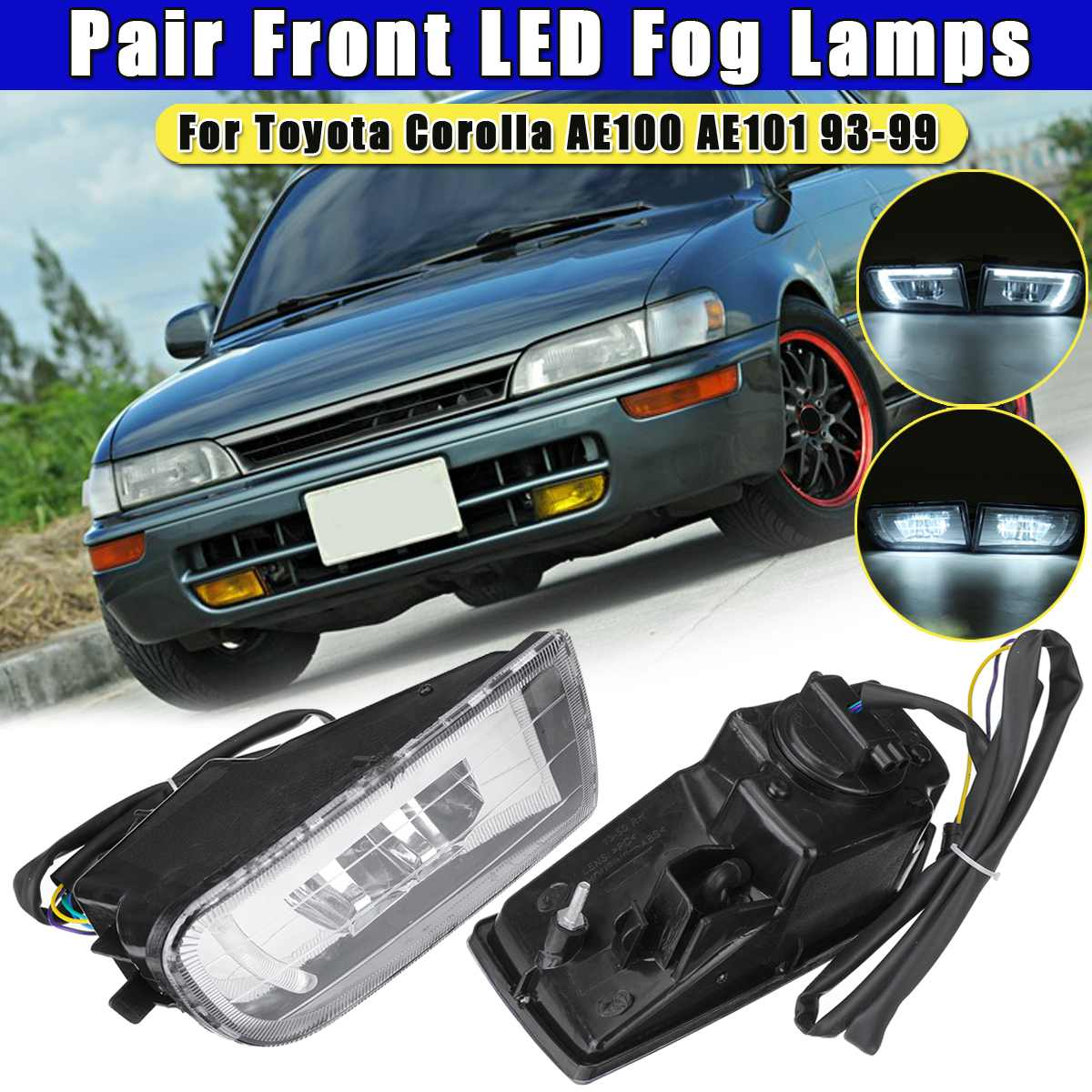 Pair Super Bright Fog Light For <font><b>toyota</b></font> <font><b>Corolla</b></font> AE100 <font><b>AE101</b></font> 1993 1994 1995 1996 1997 1998 1999 Led Fog Lights Fog Lamp Assembly image