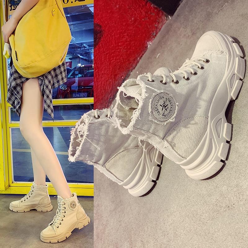 Women Ankle Boots Lace Up Women Fashion Shoes Canvas Platform Casual Autumn New