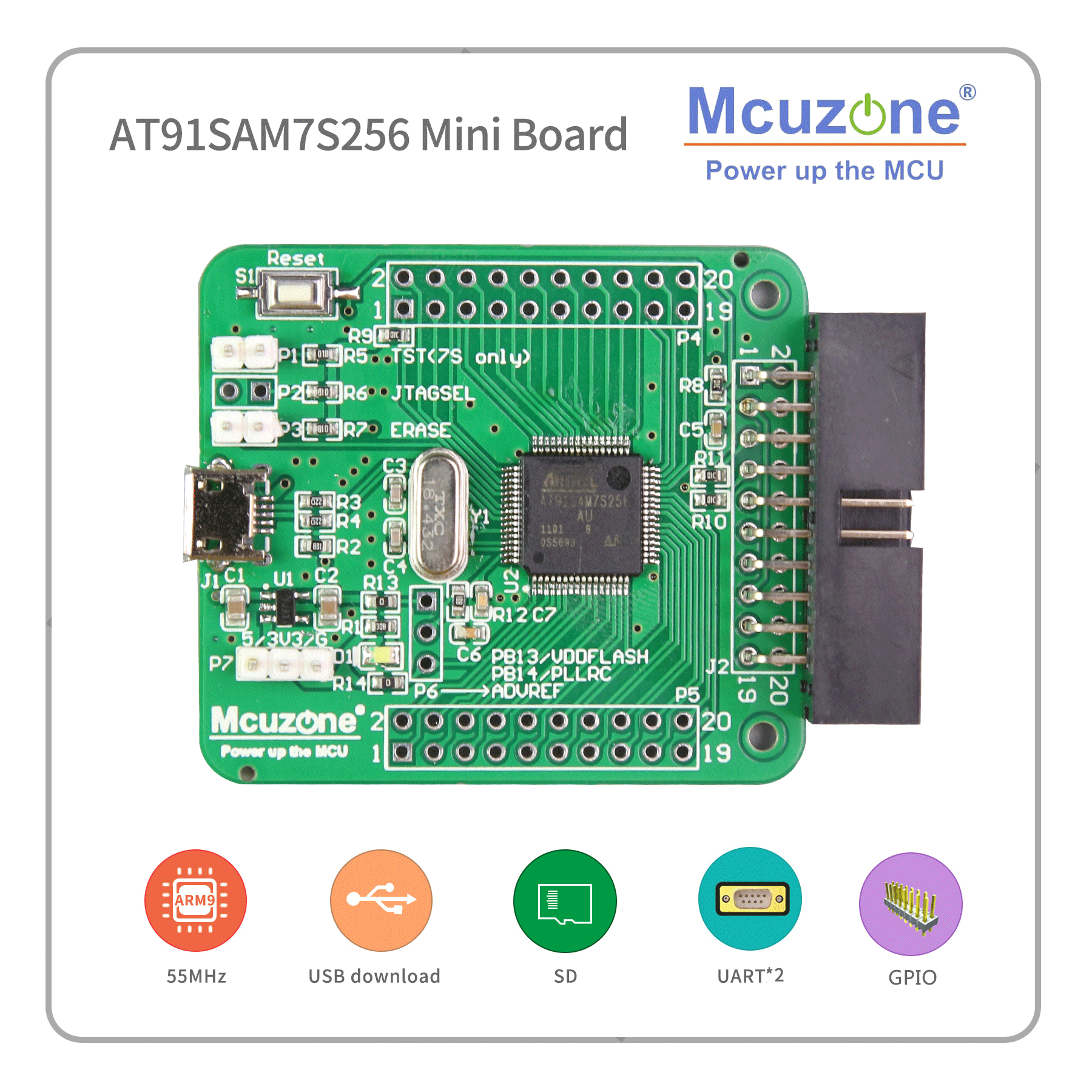 AT91SAM7S256 Mini Board (ARM7 Development Kit) 7S256 SAM7S256
