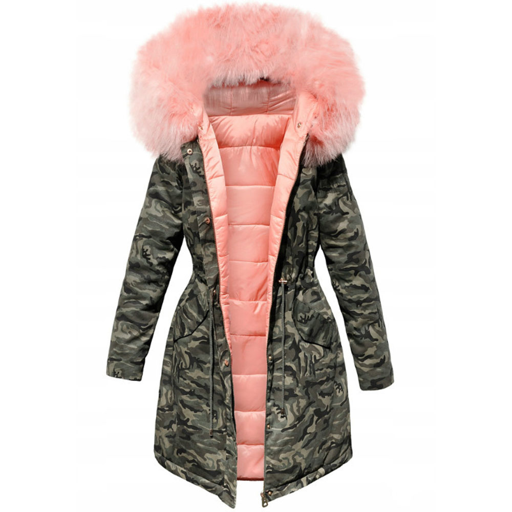 Winter Warm Thick Cotton Padded Jacket Camouflage Parka Women Long Overcoats  Female Casual Military Fur Tops Jackets Coats