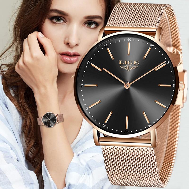 2020 LIGE New Rose Gold Women Watch Business Quartz Watch Ladies Top Brand Luxury Female Wrist Watch Girl Clock Relogio Feminin 1
